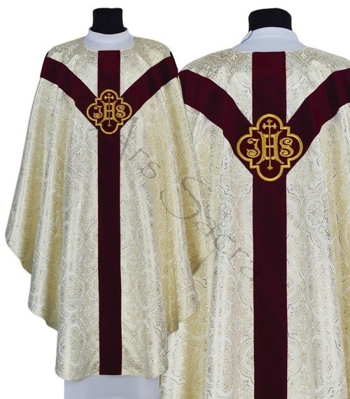 "Semi Gothic Chasuble ""IHS"" GY208-AKC14"